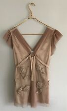NWT Anthropologie Baraschi Champagne Cap Sleeve Mesh Tulips Tie Back Size L