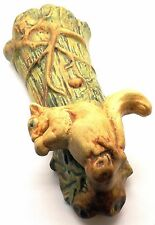 1920'S WELLER WOODCRAFT ART POTTERY WALL POCKET VASE OF A SQUIRREL ON A TREE