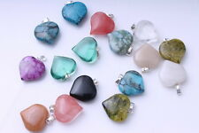 New  Mixed Millefiori Stone Glass Heart  Pendants DIY bracelet necklace 10pcs