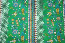 """Vintage Estate Sale Find Fabric Floral Green Yellow Floral Print Border 44 """" BTY"""