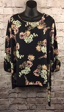 NWT Black Tunic Top Floral Birds Novelty Print Side Tie Bluebell Size XL