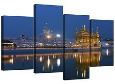 Sikh canvas arte della GOLDEN Temple Amsterdam per salotto - 4 PANEL-Blu