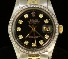 Rolex Mens Datejust Jubilee Oyster Watch 14K Gold Steel Diamond Dial Bezel