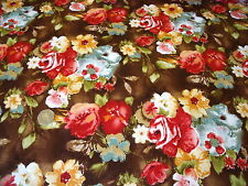 ITALIAN STRETCH COTTON SATEEN PRINT-BROWN/CORAL FLORAL-DRESS FABRIC-FREE P&P
