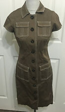 WORTH Brand 4P 4 Petite brown button front dress ivory contrast stitching