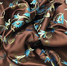 """Faux Silk BROCADE Fabric Chocolate Brown Gold & Teal FLORAL 5""""x45"""" remnant"""