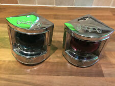 Pair of Chrome Brass Ships S & L Navigation Lights Maritime Marine Nautical Boat