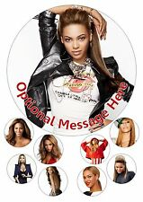 """Beyonce Knowles Iced / Icing / Frosting Edible Cake Topper 7.5"""" + Cupcake Tops"""
