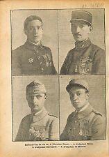 Pilotes As de l'Aviation Aviateurs Loste/Adjudant Pillon WWI 1918 ILLUSTRATION