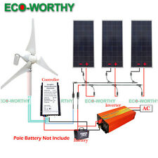 880W Hybrid Kit: 400W Wind Turbine Generator & 3x160W Solar Panel 1KW Inverter