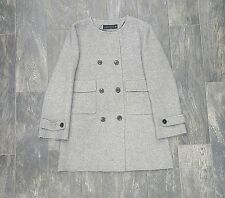 ZARA WOMAN HAND MADE COAT DOUBLE BREASTED ROUND NECK SIZE LARGE ART#7522/241/812