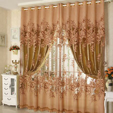Floral Voile Window Curtain Blackout Tulle Sheer Curtain Living Room Drape Panel