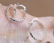 Ladies 925 Sterling Silver Fashion 25,mm Twisted Rope Hooped Circle Earrings