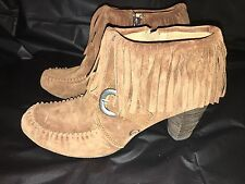 BORN genuine Suede leather fringe booties boots shoes zippers women's Sz 8 Sz 39