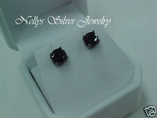 1.70 CTS Faceted Black Rhodium Plated 925 Sterling Silver Round Stud EARRINGS