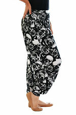 Womens Skulls and Roses Harem Trouser Tattoo Ali Baba Ladies Plus Size Nouvelle