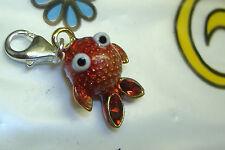 NEW Brighton orange red sea fish goldfish crystal  lobster claw clip clasp charm