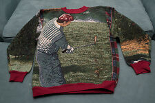 Vintage Sugar Street Weavers Golf Themed Tapestry Sweater Woven One Size
