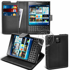 BLACK BOOK WALLET LEATHER CASE COVER POUCH FOR BLACKBERRY PASSPORT