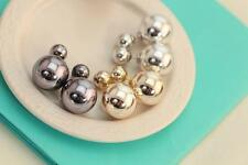 3 pair Gold Fashion Round Style Celebrity Stud Double Pearl Ball Earrings