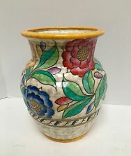 Charlotte Rhead Signed 1930s Crown Ducal Floral Vase EXC Condition (G5820)