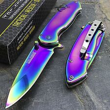 "7"" TAC FORCE RAINBOW TITANIUM COATED SPRING ASSISTED FOLDING POCKET KNIFE Blade"