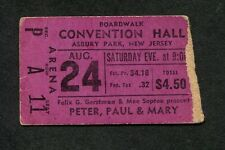 1968 Peter Paul & Mary Concert Ticket Stub Asbury Park NJ Puff The Magic Dragon