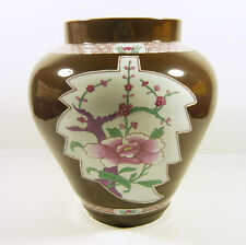 "HEREND, ANTIQUE BROWN CHINESE UNR VASE 8"", HANDPAINTED PORCELAIN FROM 1913 !"