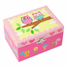Mele Pink Owls Musical Jewellery Box Childrens Organiser Case Gifts For Girls
