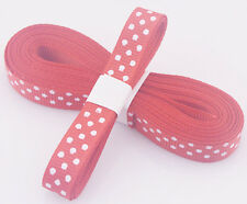 "Red 5yds 3/8"" (10 mm)Printed Party Polka Dot Grosgrain Ribbon"