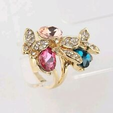 18k Yellow Gold Plated Size 8.5  Garnet Ruby Austrian Crystal Ring Gift D108