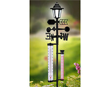 Weather Station with Solar Light Garden Gift Wind Direction Vane 6-in-1