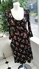 FAT FACE Black & Red Floral Jersey Dress Size UK 10 VGC