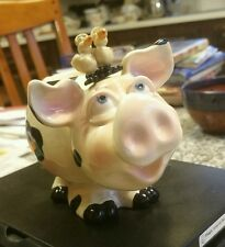 Pig with birds figurine body colorful design ceramic signed Douglas