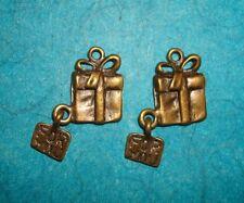 Pendant Gift Box Charm Christmas Present Charm Jewelry Box Charm Bronze Charm