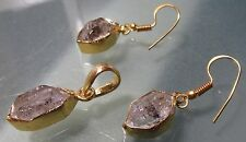 Gold plated brass Herkimer diamond quartz earrings & pendant set.