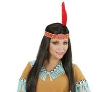 Deluxe Pocahontas Indian Woman Wig Black Indian Squaw Inc. Headband