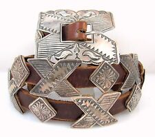 DANIEL MARTINEZ Navajo Handmade Stamped Sterling Silver Leather Concho Belt J