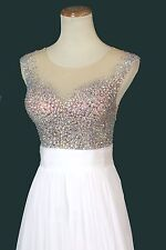 New Authentic Jovani JVN21714 White Sleeveless Beaded Wedding Gown Dress 2 Prom