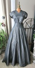 Glamorous Vintage c1940's Crinkled Gray, Silver & Gold Striped 2 pc Evening Gown