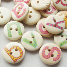 New 100pcs Alphabet Letter Wood Buttons 15mm Sewing Craft Mix Lots