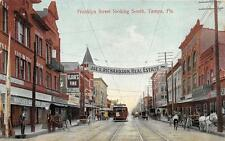FRANKLYN STREET LOOKING SOUTH TAMPA FLORIDA TROLLEY REAL ESTATE AD POSTCARD 1910