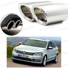 2Pcs Car Exhaust Muffler Tip Tail Pipe Trim Silver for VW Passat 2006-2014 #2030
