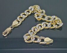 "10K Yellow Gold Cuabn Bracelet With Diamond Cuts 9"", 10mm #A12B5, Rope"