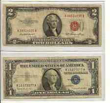 1935 or 1957 $1 Silver Certificate & 1928 or 53 or 63 $2 red seal 1 each $3 face
