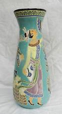 Large Art Nouveau Enamelled Stoneware Vase - Ladies with Fans - Very Rare