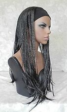 Long Jet Black Braided HEADBAND Wig, Full Coverage Synthetic Wig Wigs - 13339