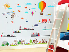 London Transport Balloon Monkey Bus Wall Sticker Decal Paper Children Nursery