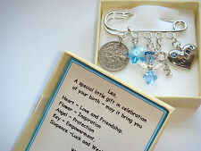 Personalised SWAROVSKI ELEMENT NEW BABY BOY  BIRTH Gift Box Boy Lucky Sixpence