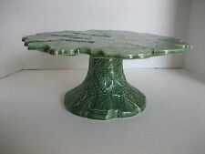 Style-Eyes Ceramic Green Leaf Cake/Stand Cake Plate 11 in. Round 5 in. Tall New